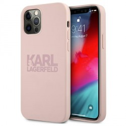 Karl Lagerfeld iPhone 12 Pro Max Silikon Case Cover Hülle Stack Logo Rose