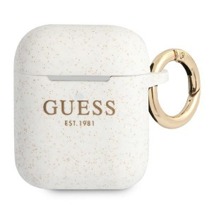 Guess AirPods 1 / 2 Case Cover Hülle Silikon Glitzer weiß