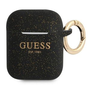 Guess AirPods 1 / 2 Case Cover Hülle Silikon Glitzer schwarz
