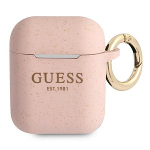 Guess AirPods 1 / 2 Case Cover Hülle Silikon Glitzer pink