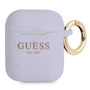 Guess AirPods 1 / 2 Case Cover Hülle Silikon Vintage Script lila