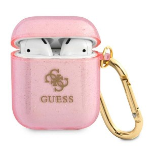 Guess AirPods 1 / 2 Case Cover Hülle Kollektion Glitzer Pink