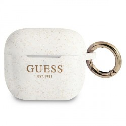Guess AirPods 3 Case Cover Hülle Silikon Glitzer weiß