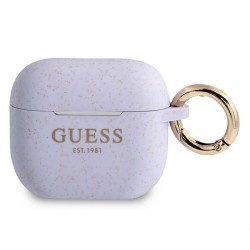 Guess AirPods 3 Case Cover Hülle Silikon Glitzer lila
