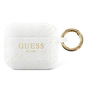 Guess AirPods Pro Case Cover Hülle Silikon Glitzer weiß