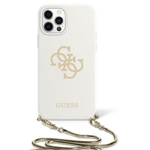 Guess iPhone 11 Case Cover Hülle Silikon Weiß 4G Gold Kette