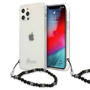 Guess iPhone 12 Pro Max Case Cover Hülle Transparent Perle Schwarz