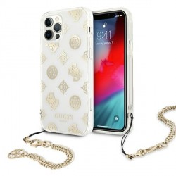 Guess iPhone 12 Pro Max Case Cover Hülle Peony Chain Weiß Gold
