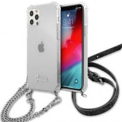 Guess iPhone 12 / 12 Pro Case Cover Hülle Transparent Silber Kette Gürtel