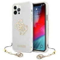 Guess iPhone 12 / 12 Pro Case Cover Hülle Transparent 4G Gold Charms