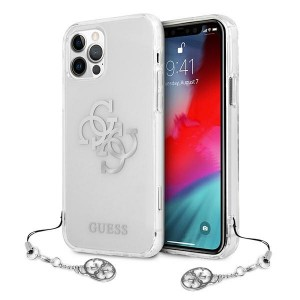 Guess iPhone 12 / 12 Pro Case Cover Hülle Transparent 4G Silber Charms