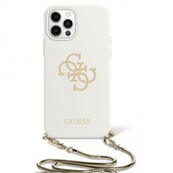 Guess iPhone 12 / 12 Pro Case Cover Hülle Silikon Weiß 4G Gold Kette