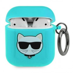 Karl Lagerfeld AirPods 1 / 2 Case Cover Hülle Choupette blau