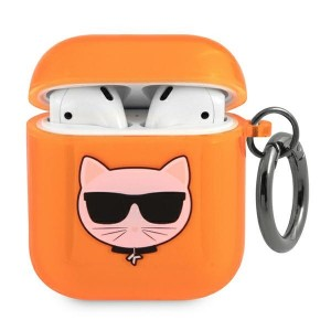 Karl Lagerfeld AirPods 1 / 2 Case Cover Hülle Choupette orange