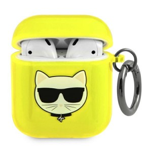 Karl Lagerfeld AirPods 1 / 2 Case Cover Hülle Choupette Neon Gelb