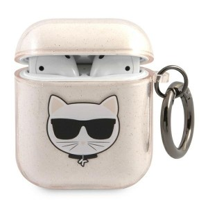 Karl Lagerfeld AirPods 1 / 2 Case Cover Hülle Choupette gold Glitter