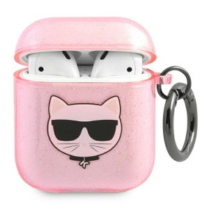 Karl Lagerfeld AirPods 1 / 2 Case Cover Hülle Choupette pink Glitter