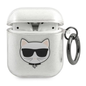 Karl Lagerfeld AirPods 1 / 2 Case Cover Hülle Choupette silber Glitter