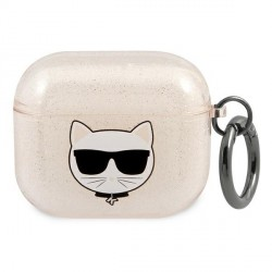 Karl Lagerfeld AirPods 3 Case Cover Hülle gold Glitter Choupette