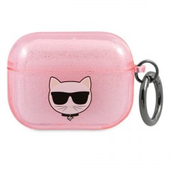Karl Lagerfeld AirPods 3 Case Cover Hülle pink Glitter Choupette