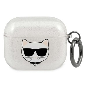 Karl Lagerfeld AirPods 3 Case Cover Hülle silber Glitter Choupette