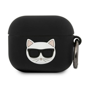 Karl Lagerfeld AirPods 3 Case Cover Hülle Silikon schwarz Choupette