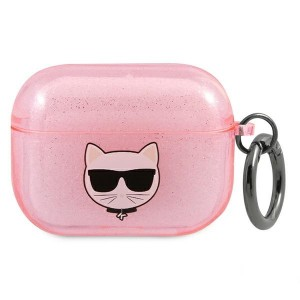 Karl Lagerfeld AirPods Pro Case Cover Hülle Choupette pink Glitter