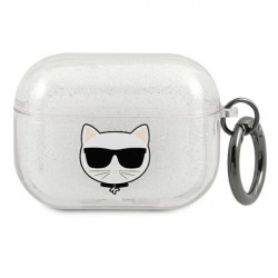 Karl Lagerfeld AirPods Pro Case Cover Hülle Choupette silber Glitter