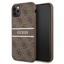 Guess iPhone 11 Pro Case Cover Hülle 4G Stripe Braun
