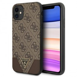 GUESS iPhone 11 Case Cover Hülle 4G Triangle Braun