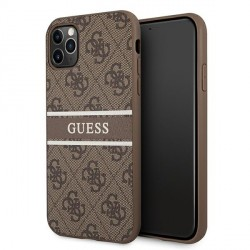 Guess iPhone 11 Pro Max Case Cover Hülle 4G Stripe Braun
