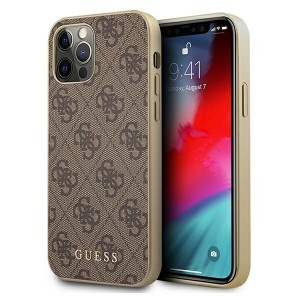 GUESS iPhone 12 Pro Max Case Cover Hülle 4G Charms Braun