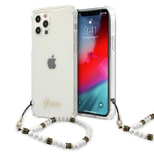 Guess iPhone 12 Pro Max Case Cover Hülle Weiß Pearl Transparent