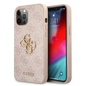 Guess iPhone 12 / 12 Pro 4G Big Metal Logo Case Cover Hülle Beige