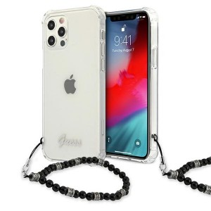 Guess iPhone 12 / 12 Pro Case Cover Hülle Black Pearl Transparent