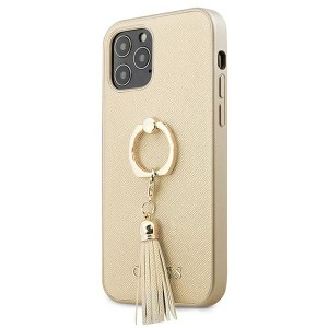 Guess iPhone 12 / 12 Pro Case Cover Hülle Gold Saffiano Ringständer