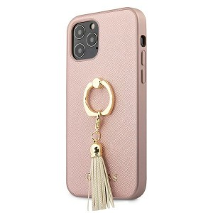 Guess iPhone 12 / 12 Pro Case Cover Hülle Rose Gold Saffiano Ringständer