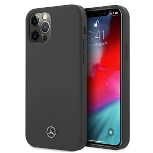 Mercedes iPhone 12 Pro Max Silicone Line Case Cover Hülle Grau