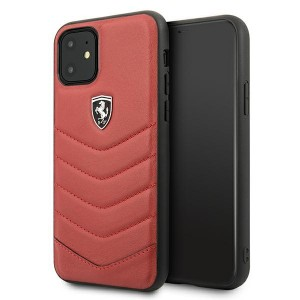 Ferrari iPhone 11 Hülle Off Track Quilted Leder Rot