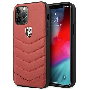 Ferrari iPhone 12 / 12 Pro Hülle Off Track Quilted Leder Rot