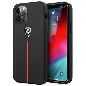 Ferrari iPhone 12 / 12 Pro Hülle Off Track Leder Schwarz Nylon Stripe Rot