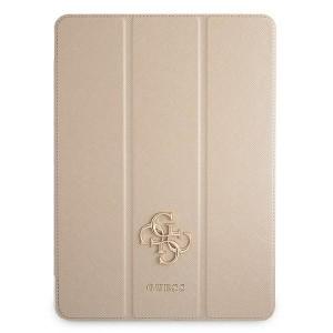 Guess iPad 12.9 2021 Tasche Hülle Book Case Cover Gold Saffiano