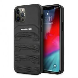 AMG iPhone 12 Pro Max Hülle Case Cover Debossed Echtleder Schwarz