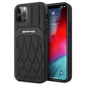 AMG iPhone 12 Pro Max Hülle Case Cover Echtleder Curved Schwarz