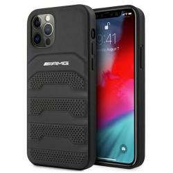 AMG iPhone 12 / 12 Pro Hülle Case Cover Debossed Echtleder Schwarz