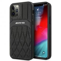 AMG iPhone 12 / 12 Pro Hülle Case Cover Echtleder Curved Schwarz
