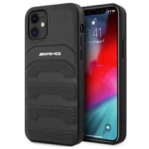 AMG iPhone 12 mini Hülle Case Cover Echtleder Debossed Schwarz