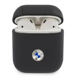 BMW AirPods 1 / 2 Echtleder Hülle / Cover / Case blau Silver Logo