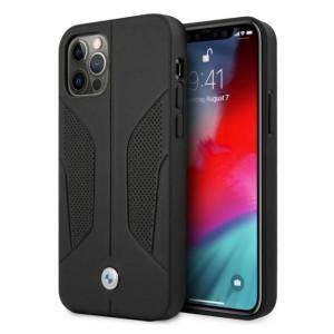 BMW iPhone 12 / 12 Pro Hülle Case Cover Sides Perforate Echtleder Schwarz