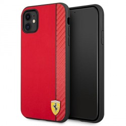 Ferrari iPhone 11 Hülle Case Cover On Track Stripe Carbon Rot